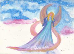 """Engel der Nacht Die Botschaft bedeutet:  """"Ich begleite dich in deinen Träumen und sende dir alle Liebe und Segen, den du brauchst, um den nächsten Tag mit neuer Energie zu begehen."""" #Inspiration #Engel #Illustration"""