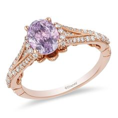 Enchanted Disney Rapunzel Oval Rose de France Amethyst and CT. Diamond Engagement Ring in Rose Gold Enchanted Disney Rapunzel Oval Rose de France Amethyst and CT. Diamond Engagement Ring in Rose Gold Disney Engagement Rings, Rose Gold Engagement Ring, Engagement Ring Settings, Vintage Engagement Rings, Oval Engagement, Disney Rings, Disney Rapunzel, Diamond Bands, Roll Ups