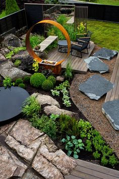 Zen Garden Design, Fireplace Garden, Cozy Backyard, Deco, Over The Garden Wall, Outdoor Living Areas, Garden Bridge, Garden Inspiration, Beautiful Gardens