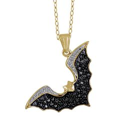 Genuine Black Diamond Accent Flying Bat Necklace in Sterling Silver - Assorted Finishes at Savings off Retail! How cool is this little guy? Diamond Studs, Black Diamond, Gothic Jewelry, Colored Diamonds, Sterling Silver Necklaces, Jewelery, Jewelry Box, Fine Jewelry, Jewelry Necklaces