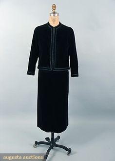 Chanel Black Velveteen Suit, 1967, Augusta Auctions, October 2006 Vintage Clothing & Textile Auction, Lot 912