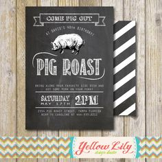 Pig Roast Party Invitation- Birthday / House Warming / Couples Shower / Hog Roast