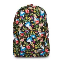 Disney's Alice In Wonderland Floral Print Backpack by Loungefly - Fabric/Nylon - Zip around closure - Top handle - Adjustable back straps - Interior laptop pocket - Front exterior features zippered po
