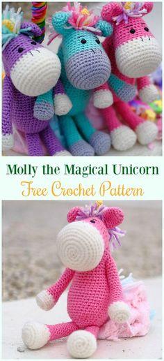 Crochet Molly the Magical Unicorn Amigurumi Free Pattern- #Amigurumi Crochet #Unicorn; Toy Softies Patterns