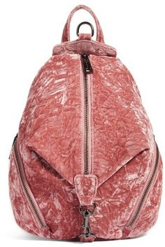 Rebecca Minkoff Medium Julian Velvet Backpack - Pink Pink crushed velvet adds a luxe, trend-forward look to a fan-favorite backpack featuring lots of pockets to keep you organized on the go. {affiliate link}