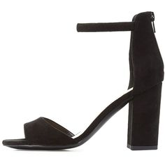 Qupid Two-Piece Chunky Heel Sandals (1,610 DOP) ❤ liked on Polyvore featuring shoes, sandals, black, one strap sandals, chunky heel shoes, block heel ankle strap sandals, ankle strap sandals and thick heel sandals
