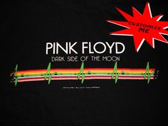 $25 - vintage old school hard to find PINK FLOYD Dark side of the moon shirt - this awesome shirt can be purchased as is or let me customize it into something flattering for you such as a tube top, tank top, mini dress, corset sides etc. Perfect for fans of classic rock, vintage rock, rock and roll, rolling stones, woodstock, diy clothing etc.