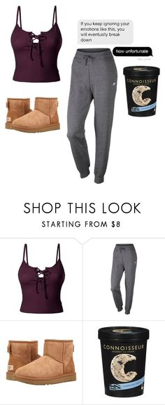 """""""My emotions not yours"""" by basicaddison on Polyvore featuring LE3NO, NIKE, UGG and Humör"""