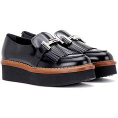Tod's Double T Platform Leather Loafers (40.960 RUB) ❤ liked on Polyvore featuring shoes, loafers, flats, black, chaussures, leather shoes, black shoes, black loafer flats, platform shoes and black leather flats