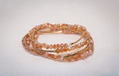 Peachy Brown Elastic Beaded Bracelets with Hint of Gold by BraceletsByClaud on Etsy