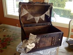 Rustic Wedding Card Box/Burlap Banner.