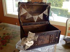 Rustic Wedding Card Box/Burlap Banner. on Etsy, $54.99