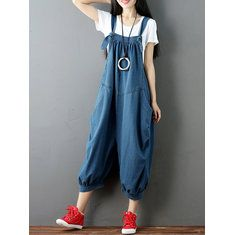Amazing Casual Pure Color Sleeveless Jumpsuits For Women on Newchic, there is always a plus size jumpsuits and rompers that suits you! Plus Size Jumpsuit, Denim Romper, Balloon Pants, Vestido Casual, Vestidos Vintage, Pants For Women, Clothes For Women, Jumpsuits For Women, Sexy Women
