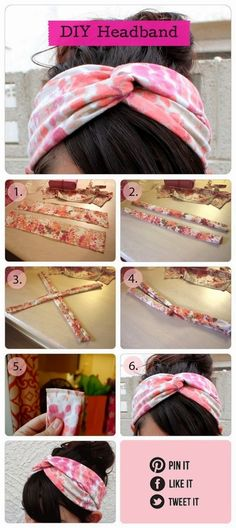 "Easy DIY Crafts: DIY headband- cute with a lighter, ""scarf-y"" like fabric in minty or peachy hues for summer"