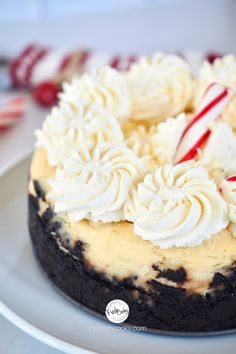 This Instant Pot White Chocolate Peppermint Cheesecake is the perfect smaller size for smaller Christmas and holiday gatherings. Easy to make, make it ahead; no pressure cooker? No problem, oven instructions provided. With an oreo cookie crust, creamy cheesy, white chocolate center, it's a delicious seasonal dessert! #thefreshcooky #cheesecakerecipe #holidaybaking No Bake Desserts, Easy Desserts, High Altitude Baking, Peppermint Cheesecake, Homemade Pie, Easy Weeknight Meals, Baking Tips, Holiday Baking, Food Gifts