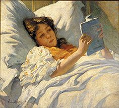 ✉ Biblio Beauties ✉ paintings of women reading letters & books - Willard Leroy Metcalf | The Convalescent, 1904