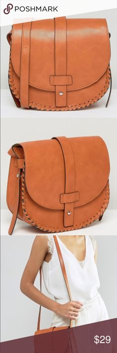 Asos whipstitch leather bag The perfect size leather bag. Lightly used. ASOS Bags Crossbody Bags