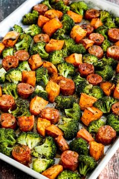 Roasted Sweet Potatoes, Sausage, and Broccoli Sheet Pan Meal is delicious and this is unbelievably easy for a fall dinner! meals for husband Roasted Sweet Potatoes, Sausage, and Broccoli Sheet Pan Meal – Kalyn's Kitchen Pre Cooked Chicken, How To Cook Chicken, Baked Chicken, Chicken And Sweet Potato Recipe Healthy, Sweet Sausage Recipes, Sausage Meals, Turkey Sausage, Grilled Chicken, Leftovers Recipes
