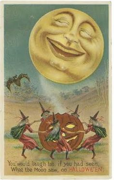 Man in the Moon, Witches Dance The jolly Man in the Moon smiles down on a coven of dancing witches on Halloween night in this vintage Halloween postcard. Retro Halloween, Vintage Halloween Cards, Victorian Halloween, Halloween Moon, Vintage Holiday, Holidays Halloween, Halloween Crafts, Happy Halloween, Halloween Witches