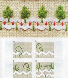 Bordados com sianinha -- Little Trees on ric-rac Crazy Quilting, Crazy Quilt Stitches, Embroidery Applique, Cross Stitch Embroidery, Embroidery Patterns, Crochet Patterns, Sewing Crafts, Sewing Projects, Rick Rack