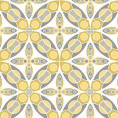 Silent Cinema Fabric Iris in Yellow 1 Yard by SewFabricShop