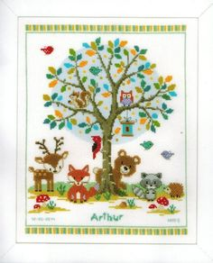 Vervaco In the Woods Birth Record - Cross Stitch Kit. Complete kit includes 14 Ct. White Aida, thread, needle, chart and instructions. Finished size: 11.2 x 14                                                                                                                                                                                 More