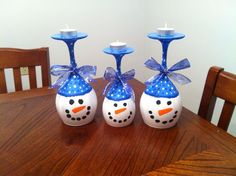 snowman wine glass candle   glass candle holders