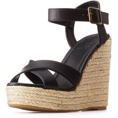 Charlotte Russe Two-Piece Espadrille Wedge Sandals ($14) ❤ liked on Polyvore featuring shoes, sandals, black espadrilles, black platform shoes, black sandals, platform espadrille sandals and black platform sandals