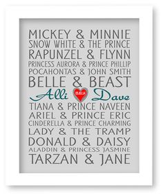 Good for the Disney princess bridal shower. Disney Famous Couples Print Couples Art by DIGIArtPrints on Etsy, $10.00