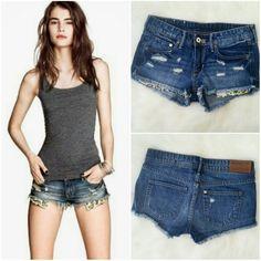 1 HR SALE! Leopard Glitter Pockets Denim Shorts Condition: Excellent.  Machine fade/distressed. 100% cotton. NO TRADES!! H&M Shorts Jean Shorts