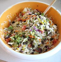 Mexican Coleslaw:  1 package Slaw Mix   1 can corn {drained}  1 can black beans {drained}  1/3 cup diced green onions  1 cup diced tomatoes  1/2 cup diced black olives  1/4 cup diced cilantro  1 avocado chopped   3/4 cup Jalapeno Ranch Dressing  Garnish with cilantro. by tina66