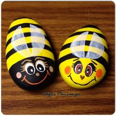 Bumblebees - painted rocks by Phyllis Plassmeyer