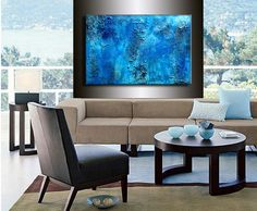 Original Thick BLUE Textured Abstract by newwaveartgallery on Etsy