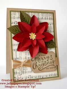 Julie Kettlewell - Stampin Up UK Independent Demonstrator - Order products 24/7: Reason for the Season Poinsettia Card