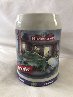 Vintage 1995 Budweiser  Bud Frog Pepe Stein Collectible Mug Cup Made in Germany