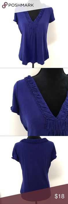 Anthropologie Deletta Ruffle V-neck Tee A soft and casual tee from Anthropologie by Deletta.  A beautiful jewel tone purple color with a ruffled v-neck and slight gathering on the sleeves.  Pima cotton and modal blend. Anthropologie Tops Tees - Short Sleeve