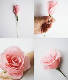 origami facile et super chic avec papier crépon: rose
