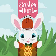 Cute Easter bunny playing egg hunt with his friends and he found the first egg in the game!