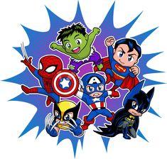 Póster de Super Héroes Chibi.