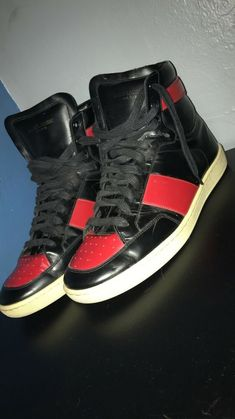 the latest 7e50b c5f40 Saint Laurent high top Sneakers size 43 EU Black Red  fashion  clothing