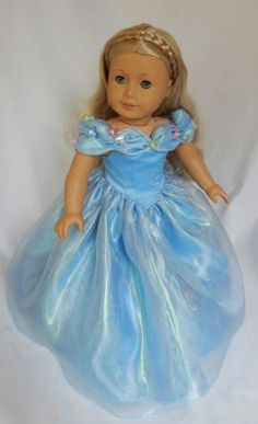 Beautiful Cinderella gown for American Girl Dolls by All Dolled Up. Pattern - Dollhouse Designs