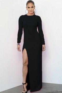 Debut black lace trimmed maxi dress