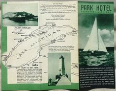 1940's Early 50's Frankport Michigan Park Hotel Vintage Brochure Map of Lake B   eBay