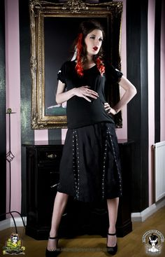 a7223d98071 Maternity Skirt Goth Punk Rockabilly Black Grommet from MamaSan Maternity  Apparel