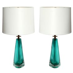 A Pair of signed Venini Art Glass Table Lamps