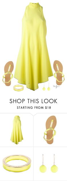 """Untitled #652"" by mandyjeanb87 ❤ liked on Polyvore featuring Proenza Schouler, Charlotte Russe, Atos Lombardini, Alexis Bittar, yellow, dress, sandals, ring and earrings"