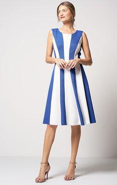 Vestido Tweed Evasê Bicolor Azul/Off White - PA Concept