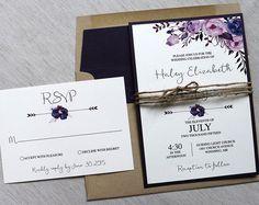 Boho Floral Wedding Invitation. Rustic Wedding Invitation.