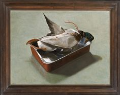Stephen Rose (1960- ), Mallard (2012), oil on canvas, 59.4 x 79.7 cm.  Reproduction late 17th century bolection frame in stained & polished pearwood