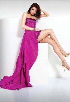 Sheath / Column Strapless Paillette Sleeveless Floor-length Taffeta Fuchsia Prom Dress / Evening Dress